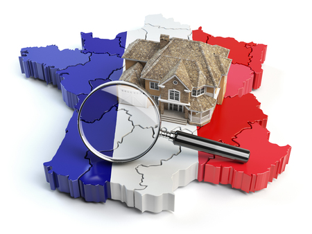 House and loupe on the map of France in colors of french flag. Search a house for buying or rent concept. Real estate development in France. 3d illustration
