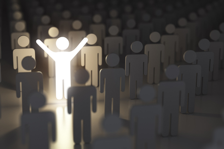 Stand out from the crowd, difference and leadership concept. Many people and a one glowing. 3d illustration Stock Photo
