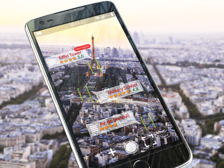 Augmented reality travel application concept.  Mobile smart phone check relevant information about landmars attractions of Paris. 3d illustration Stock Photo
