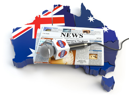 Australian news, press and  journalism concept. Microphone and newspaper on the map in colors of the flag of Australia. 3d illustration Stock Photo