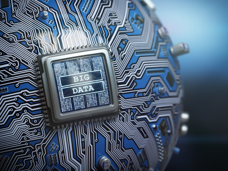 Big data concept. CPU processor with text big data on the spherical futuristic motherboard. 3d illustration Stock Photo