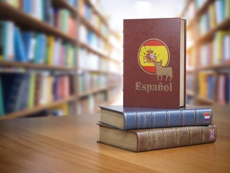 Learn Spanish concept. Spanish dictionary book or textbok with flag of Spain and cow on the cover in the library. 3d illustration
