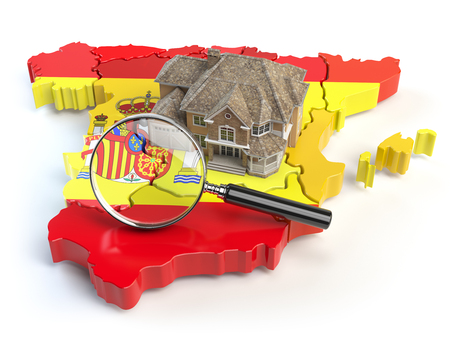 House and loupe on the map of Spain in colors of spanish flag. Search a house for buying or rent concept. Real estate development in Spain. 3d illustration Stock Photo