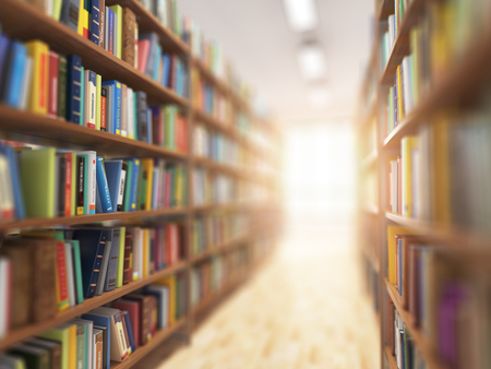 Library stacks of books and bookshelf with DOF effect and light in the end. 3d illustration Stock Photo