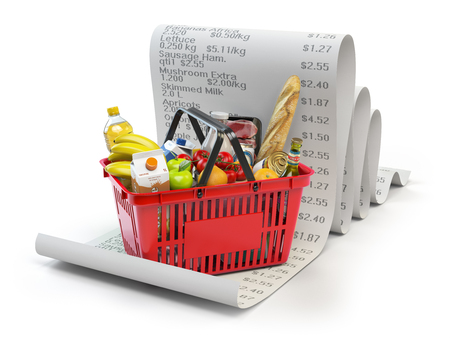 Grocery expenses budget  and consumerism concept. Shopping basket with foods on the receipt isolated on white. 3d illustration