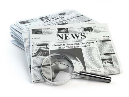 News. Loupe with  periodic hot news newspapers isolated on white. 3d illustration