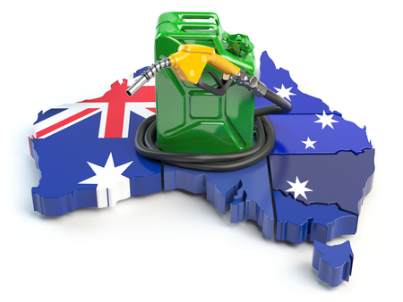 Gasoliane and petrol consumption and production in Australia. Map of Australia with jerrycan and gas pump nozzle. 3d illustration