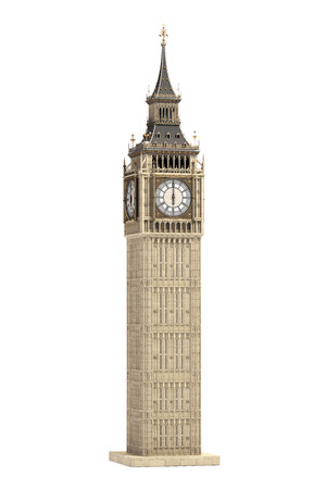Big Ben Tower the architectural symbol of London, England and Great Britain Isolated on white background. 3d illustration Stock Photo
