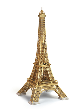 Eiffel Tower golden isolated on a white background. 3d illustration Banque d'images