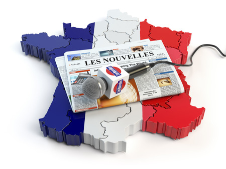 French news, press and  journalism concept. Microphone and newspaper with headline Les nouvelles (french for: news)on the map in colors of the flag of France. 3d illustration Stock Photo