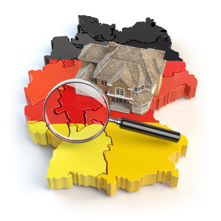 House and loupe on the map of Germany in colors of german flag. Search a house for buying or rent concept. Real estate development in Germany. 3d illustration