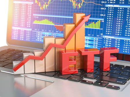 ETF exchange traded funds concept. Graph with ETF on the laptop keyboard with trade workstation app on the screen. 3d illustration 스톡 콘텐츠
