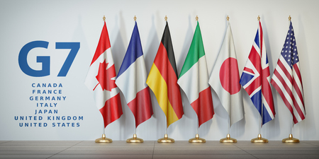 G7 summit or meeting concept. Row from flags of members of G7 group of seven and list of countries, 3d illustration 스톡 콘텐츠