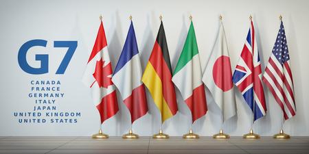 Koncepcja szczytu lub spotkania G7. Wiersz z flag członków grupy G7 siedmiu i lista krajów, ilustracja 3d