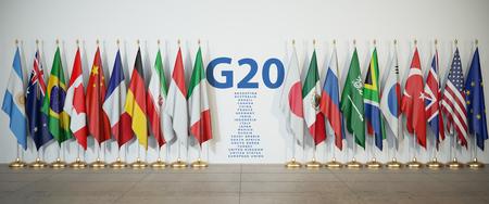 G20-Gipfel oder Tagungskonzept. Reihe von Flaggen der Mitglieder der G20-Gruppe der Zwanzig und Liste der Länder, 3D-Illustration Standard-Bild - 106363864