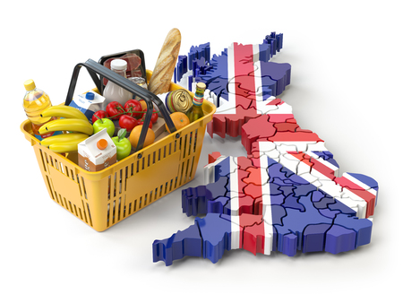 Market basket or consumer price index in UK Great Britain. Shopping basket with foods on the map of UK Great britain. 3d illustration Stock Photo