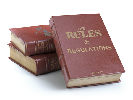 Rules and regulations books with official instructions and directions of organization or team isolated on white background. 3d illustration Stock Photo
