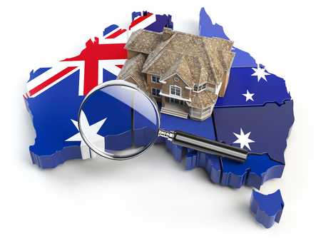 House and loupe on the map of Australia in colors of australian flag. Search a house for buying or rent concept. Real estate development in Australia. 3d illustration Stock Photo