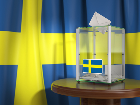 Ballot box with flag of Sweden and voting papers. Swedish presidential or parliamentary election.  3d illustration Stock Photo