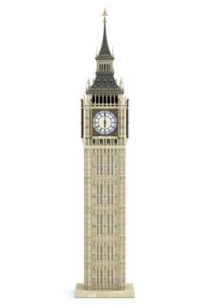 Big Ben Tower the architectural symbol of London, England and Great Britain Isolated on white background. 3d illustration 스톡 콘텐츠