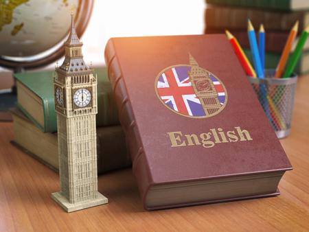 Studying and learn English concept. Book with flag of Great Britain and Big Ben tower on the table. 3d Iluustration Stock Photo
