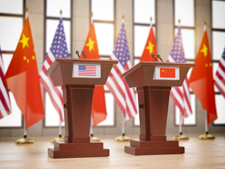 Flags of the USA and China and tribunes at international meeting or conference. Relationship between China and USA concept. 3d illustration Banco de Imagens