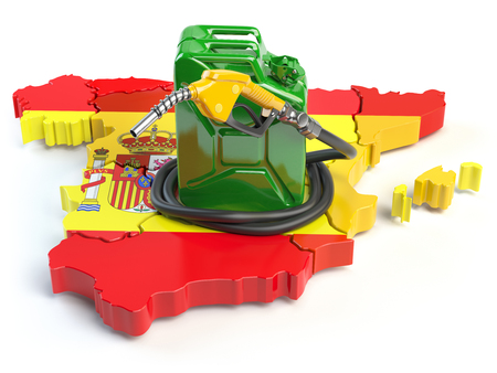 Gasoline and petrol consumption and production in Spain. Map of Spain with jerrycan and gas pump nozzle. 3d illustration Stock Photo