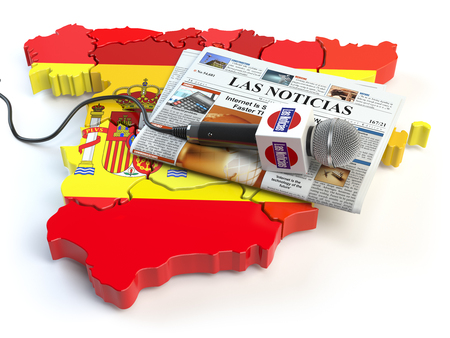 Spanish news, press and  journalism concept. Microphone and newspaper with headline Las Noticias (spanish for: news)on the map in colors of the flag of Spain. 3d illustration Stock Photo