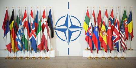 OTAN. Banderas de miembros de la Organización del Tratado del Atlántico Norte y símbolo. Ilustración 3d