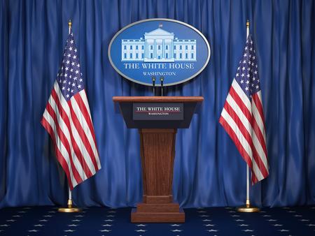 Briefing del presidente degli Stati Uniti alla Casa Bianca. Tribuna dell'altoparlante del podio con le bandiere degli Stati Uniti e il segno di White Houise. Concetto di politica. Illustrazione 3D