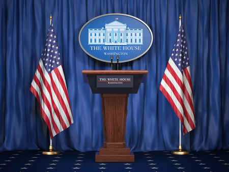 Reunión informativa del presidente de Estados Unidos en la Casa Blanca. Tribuna de altavoz de podio con banderas de Estados Unidos y signo de White Houise. Concepto de política. Ilustración 3d