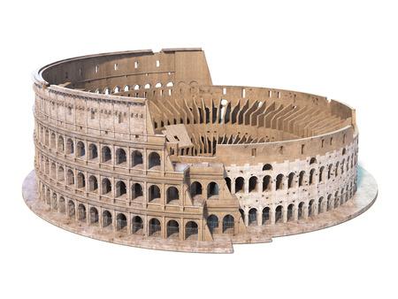 Colisée, Colisée isolé sur blanc. Symbole de Rome et de l'Italie, illustration 3d
