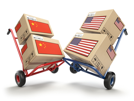 USA China economic trade war market conflict concept.  Two opposing hand trucks and cardboard boxes with USA and China flags., 3d illustration Foto de archivo - 108812672