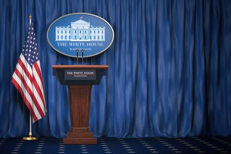 Trybuna głośnikowa podium z flagami USA i znakiem Białego Domu z miejscem na tekst. Briefing prezydenta USA w Białym Domu. Koncepcja polityki. Ilustracja 3D