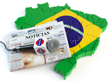 Brazilian news, press and  journalism concept. Microphone and newspaper with headline
