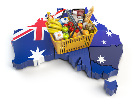 Market basket or consumer price index in Australia. Shopping basket with foods on the map of Australia. 3d illustration