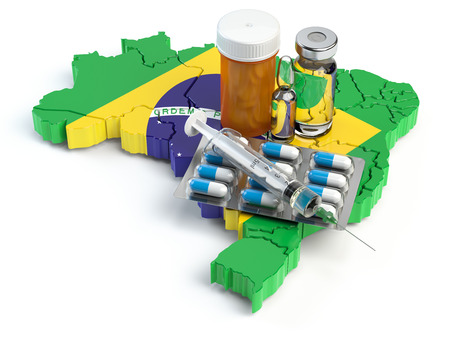 Health, healthcare, medicine and pharmacy in Brazil concept. Pills, vials and syringe on the map of Brazil isolated on white background. 3d illustration Stock Photo