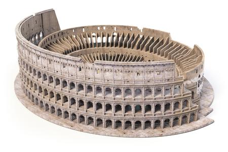 Colosseo, Colosseo isolato su bianco. Modello di simbolo architettonico e storico di Roma e in Italia, 3d'illustrazione
