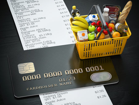 Shopping basket with food and drink, cerdit card and receipt with list of expenses.Purchasing products onlaine by credit card or family budjet concept. 3d illustration