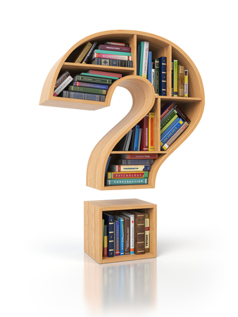 Searching information or FAQ concept. Bookshelves with books and textbooks in the shape of question mark, 3d illustration Stock Photo