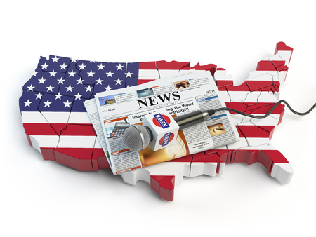 News of USA, press and  journalism concept. Microphone and newspaper on the map in colors of the flag of USA. 3d illustration Stock Photo