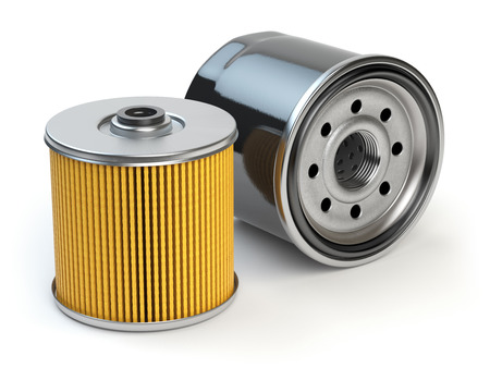 Car oil filter isolated on white background. Automobile spare part. 3d illustration Stock Photo