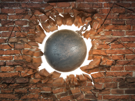 Wrecking ball destroying the brick wall. 3d illustration Stock Photo