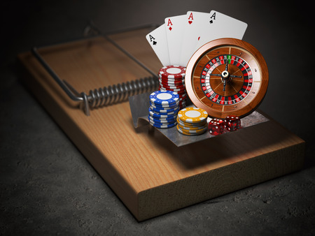 Gambling addiction concept. Mousetrap with casino roulette, chips, dice and playing cards. 3d illustration