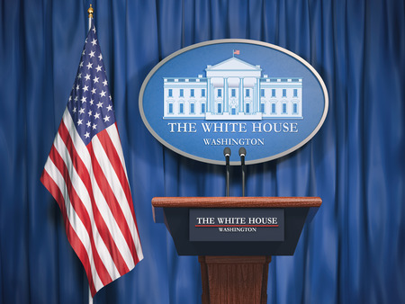 Politics of White House and President of USA United states concept.  Podium speaker tribune with USA flags and sign of White House. 3d illustration 스톡 콘텐츠