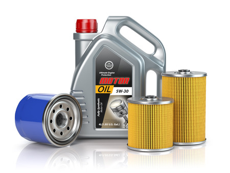 Motor oil canisters andcar oil filter isolated on white background. Auto service and car maintenance concept. 3d illustration Stock Photo