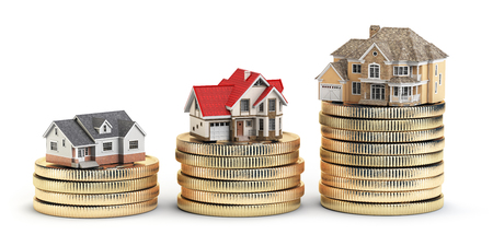 Different size houses vith different value on stacks of coins. Concept for property, mortgage and real estate investment.  3d illustration Stock Photo