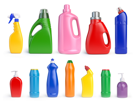 Set of detergent bottles and containers, cleaning and washing supplies, 3d illustration