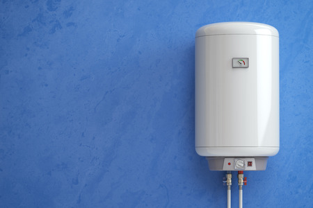 Electric boiler, water heater on the blue wall. 3d illustration Stock Photo
