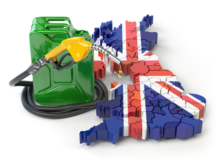 Gasoline and petrol consumption and production in UK Great Britain. Map of UK Great Britain with jerrycan and gas pump nozzle. 3d illustration
